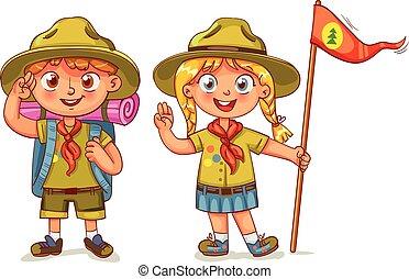 scout, garçon, et, scout, girl