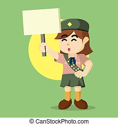 scout girl holding sign