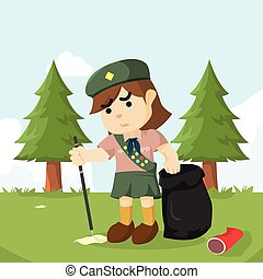 scout girl keeping forest clean