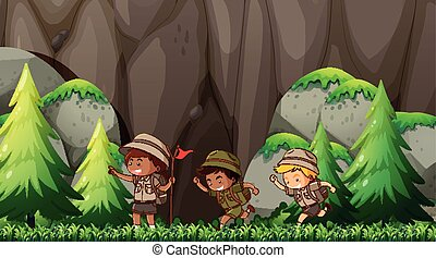 scout, gosses, scène, nature