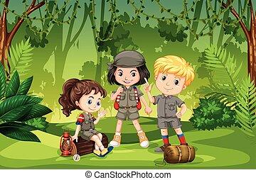 scout, gosses, trois, jungle