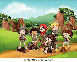 scout, groupe, scène, gosses