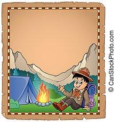 scout, parchemin, montagne