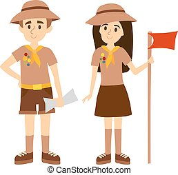 Scout people vector illustration. - Children scout people...