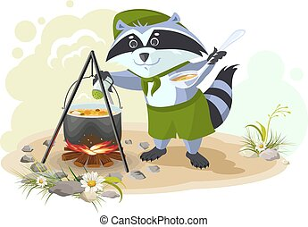Scout raccoon cooking soup over campfire. Summer holidays...