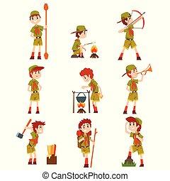 scout, randonnée, été, ensemble, camp, costumes, équipement, garçons, vecteur, fond, scouts, illustrations, blanc, activités