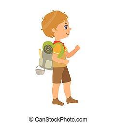 scout, sac à dos, coloré, caractère, porter, vue, girl, côté