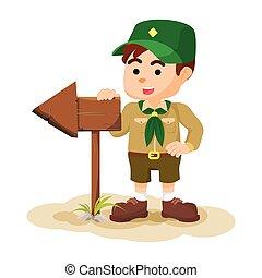 scout, tenue, signe flèche