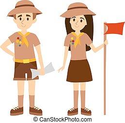 scout, vecteur, illustration., gens