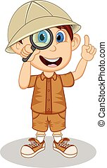 Scout with magnifier cartoon vector