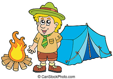 Scout with tent and fire - vector illustration.