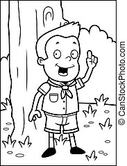 Scout Woods - A happy cartoon boy scout in the woods.