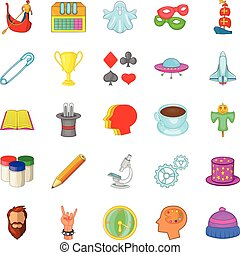 Scouting icons set, cartoon style