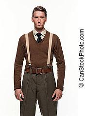 scoutisme, mode, contre, uniforme, arrière-plan., blanc, homme