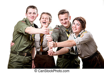 Scouts in studio - Four young scout members having fun...
