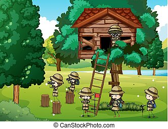 Scouts playing in the treehouse