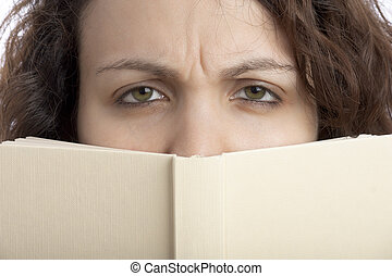 Scowled Woman with Book