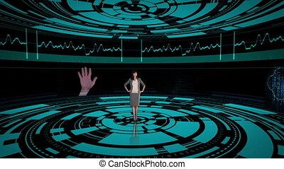 scr, femme affaires, projection, tournant