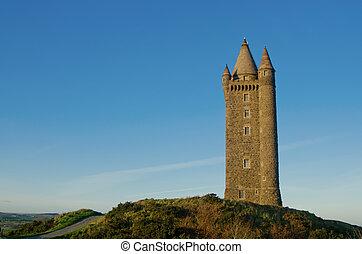scrabo, beroemd, toren, ierland, noordelijk