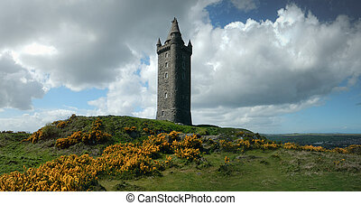 A solitary tower on a highland, hilly meadow in Northern Ireland.