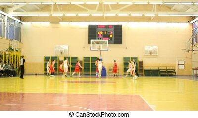 Scramble for ball under basket in game - MOSCOW - FEB 12:...