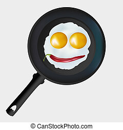 scrambled edds - Vector eggs in a frying pan on a gray ...