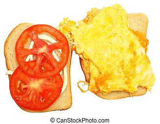 Scrambled Egg and Cheese Sandwhich Over White - Scrambled...