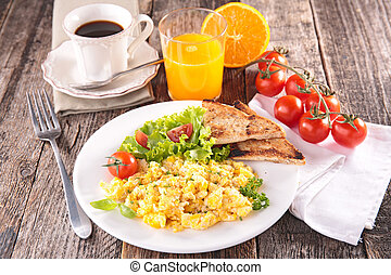 scrambled egg, breakfast