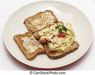 Scrambled egg, high angle