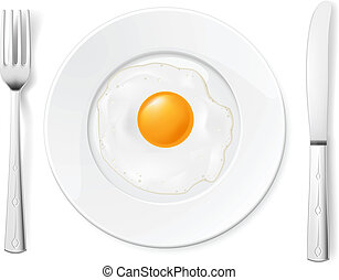 Scrambled Egg In A Bowl With Fork And Knife
