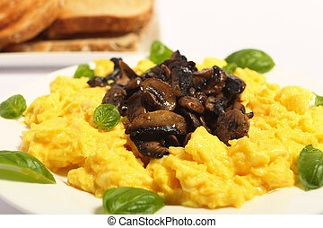 Scrambled egg side view