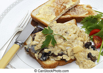 Scrambled egg with mushrooms meal