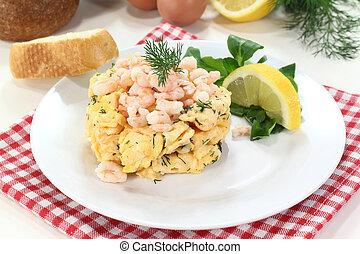 Scrambled egg with shrimp