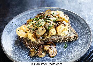 Scrambled Eggs and Mushrooms on Toast