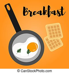 Scrambled eggs for breakfast in a pan and Belgian waffles. ...