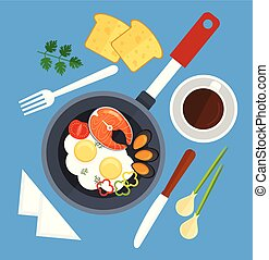 Scrambled eggs fried in frying pan with salmon fish, mussels, tomato and slices of pepper. Table set tea with lemon, napkin, bread, knife and fork. Good morning breakfast concept. Vector flat graphic design isolated icon element illustration