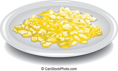 Illustration of scrambled eggs on a plate.