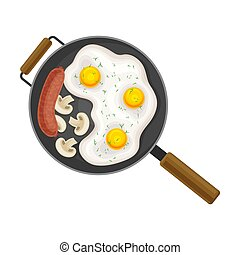 Scrambled Eggs in Frying Pan with Sausage and Mushrooms Top View Vector Illustration
