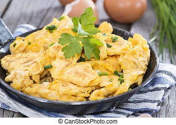 Scrambled Eggs with fresh eggs and herbs