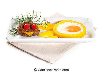 Scrambled eggs with meat on plate, isolated on white ...