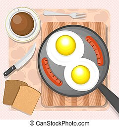 Scrambled eggs with sausages