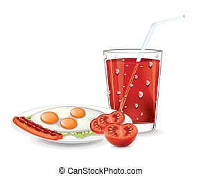 Scrambled eggs with tomato juice