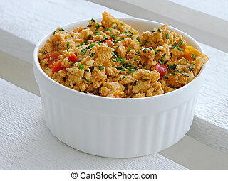 Scrambled tofu - Image of scrambled tofu with paprika