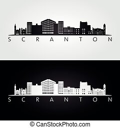 Scranton, Pennsylvania skyline and landmarks silhouette, black and white design, vector illustration.