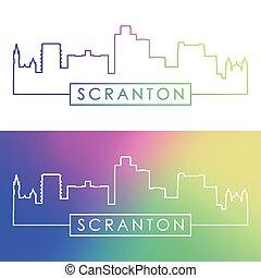Scranton skyline. Colorful linear style. Editable vector file.