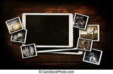 Scrap-booking background on dark wood