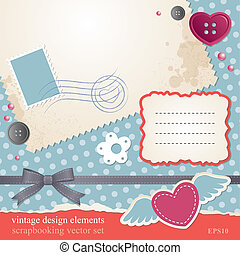 scrap-booking set, vintage design elements, vector eps-10