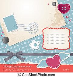 scrap-booking set, vintage design elements, vector eps-10