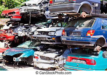 scrap cars in a junkyard - many junk cars to a scrap yard ...