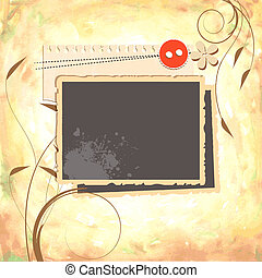 Scrap design with stack of photos and watercolor paper background